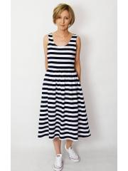 MEGAN - midi dress with straps - white and navy blue stripes