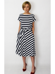 LUCY - Midi Flared cotton dress in white and navy blue stripes