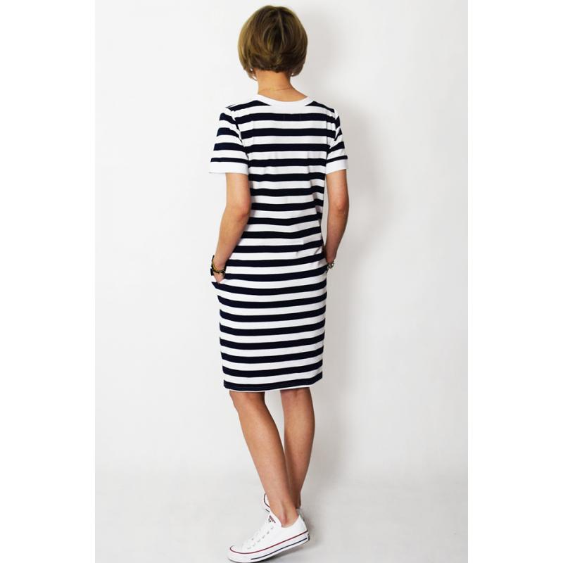 super popular 552bc d07b0 JOAN - T-Shirt-Kleid in weiße und marineblaue Streifen ...