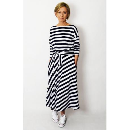 5ebb1bd575f35 ADELA - Midi Flared cotton dress - white and navy blue stripes ...