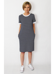 JOAN - t-shirt dress in white and navy blue stripes