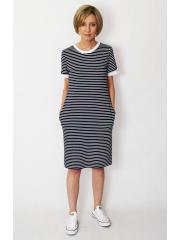 JOAN - T-Shirt-Kleid in weiße und dunkelblaue Streifen