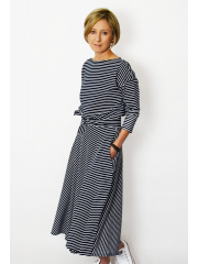 ADELA - Midi Flared cotton dress - white and navy blue stripes