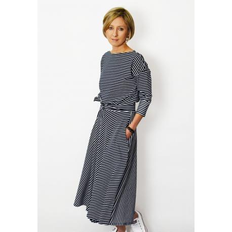 ADELA - Midi Flared cotton dress - white and navy stripes