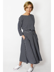 ADELA - Midi Flared cotton dress - white and navy stripes