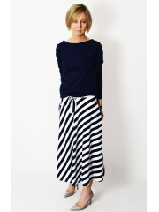 KLAUDIA - cotton SKIRT FROM THE WHEEL 7/8 - white and navy blue stripes