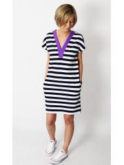 FIONA - mini dress with a V-neck neckline - white and navy blue stripes