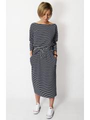 NINA - Baumwoll kleider maxi - weiß und marineblauen Streifen