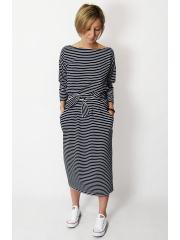 NINA - Cotton maxi belted dress - white and navy blue stripes