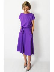 LUCY - Midi Ausgestelltes Kleid gestrickt - violett