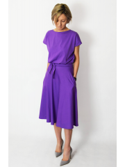 LUCY - Midi Flared cotton dress - violet