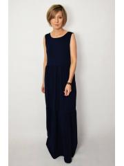 KLARA - langes Kleid mit Volants - marineblau
