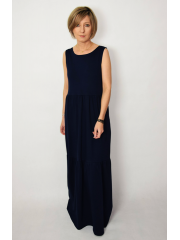 KLARA - long dress with flounces - navy blue