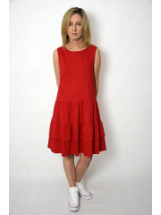 ELENA - dress with frills on straps - red