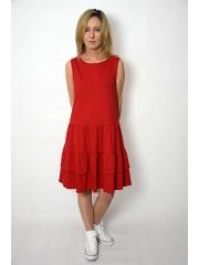 ELENA - Kleid mit Rüschen an Trägern - rot