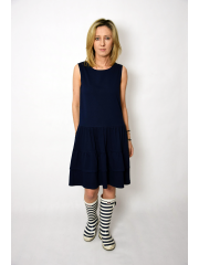 ELENA - dress with frills on straps - navy blue