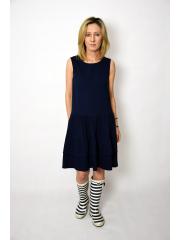 ELENA - Kleid mit Rüschen an Trägern - marineblau