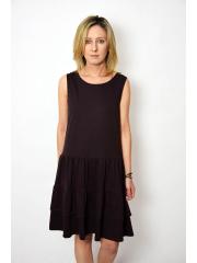 ELENA - Kleid mit Rüschen an Trägern - Schokolade