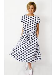 sukienka LUCY - granatowe grochy