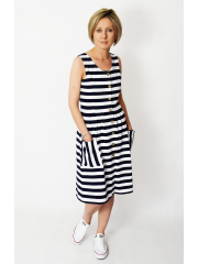 MEGAN - midi dress with bib - white and navy blue stripes