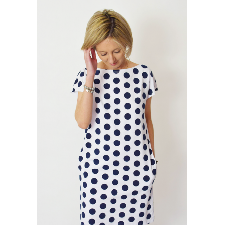 PAULA - cotton mini dress - navy blue polka dots