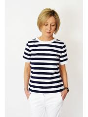 t-shirt WIND - biało-granatowe pasy