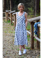 MEGAN - midi dress with straps - navy blue polka dots