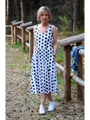 sukienka MEGAN - granatowe grochy