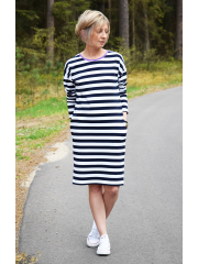 NOLY - dress with long sleeves - white and navy blue stripes