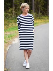 NOLY - Kleid mit langen Ärmeln - weiße und marineblaue Streifen