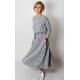 ADELA - Midi Ausgestelltes Kleid gestrickt - graue und weiße Streifen