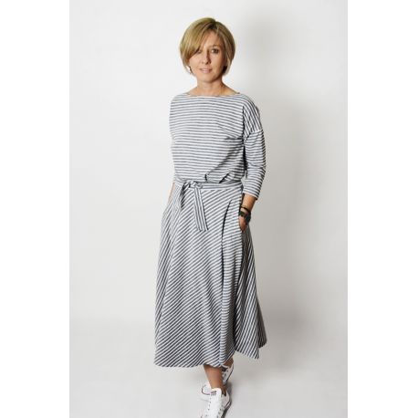 ADELA - Midi Flared cotton dress - gray and white stripes