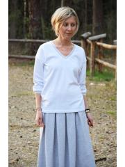 CARIO - V-Ausschnitt Bluse mit dekorativen Abzieher