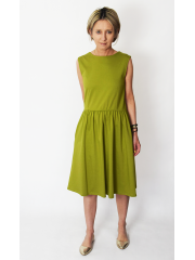 CLARICE - midi dress with buttons - olive