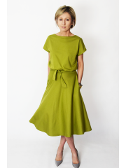 LUCY - Midi Flared cotton dress - olive