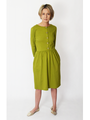 ALISON - midi dress with buttons in olive