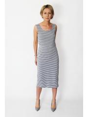 SOFI - Elegante und lange enges Kleid - graue und weiße Streifen