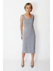 SOFI - Pencil midi dress - gray and white stripes