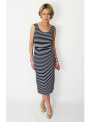 SOFI - Pencil midi dress - navy blue and white stripes