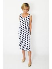 SOFI - Elegante und lange enges Kleid - marineblaue Tupfen