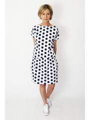 SPALLA - mini dress - navy blue polka dots