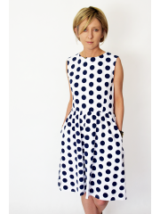 CLARICE - midi dress with a zip at the back - navy blue polka dots