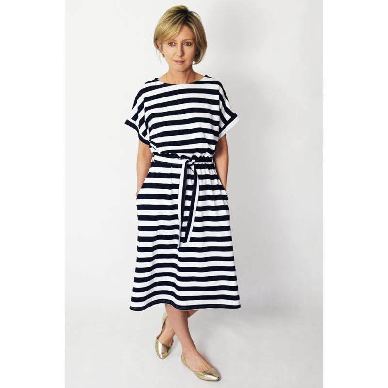 size 40 d484d 81e16 MANILA - Midi kleid aus Baumwolle - weiß und marineblauen ...