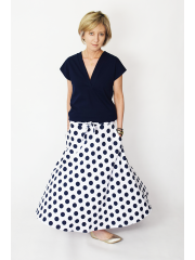 KLAUDIA - cotton SKIRT FROM THE WHEEL 7/8 - navy blue polka dots