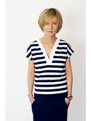 VIVO - t-shirt with v-neckline - white and navy blue stripes