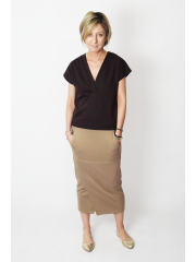 ALEX - pencil and cotton midi skirt - dirty pink