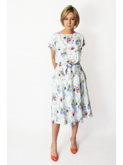 LUCY - Midi cotton dress - navy blue polka dots