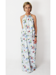 AMIRA - Maxi / long cotton dress - flowers, poppies