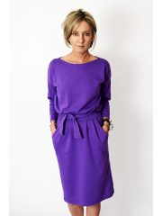 KIKA - midi strickkleid baumwolle damen - violett