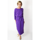 NINA - Cotton maxi belted dress - violet